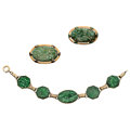 Estate Jewelry:Lots, Jadeite Jade, Gold Jewelry Lot. ... (Total: 3 Items)