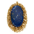 Estate Jewelry:Brooches - Pins, Lapis Lazuli, Gold Pendant-Brooch . ...