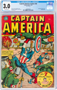 Captain America Comics #20 (Timely, 1942) CGC GD/VG 3.0 Off-white pages