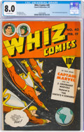 Golden Age (1938-1955):Superhero, Whiz Comics #40 (Fawcett Publications, 1943) CGC VF 8.0 Off-white pages....