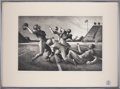 "Football Collectibles:Others, 1972 ""Forward Pass "" Lithograph Signed by Thomas Hart Bent..."