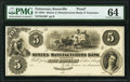 Knoxville, TN- Miners and Manufacturers Bank of Tennessee $5 18__ G20 as Garland 463 Proof PMG Choice Uncirculated 64...
