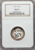 1957 25C Washington Quarter MS65 NGC. This lot will also include a: 1954-D 50C Washington-Carver MS65 PCGS