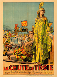 "The Fall of Troy (Lux Film, 1911). Very Fine on Linen. Pre-War Belgian (24.5"" X 33.5"")"