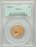 1908-D $5 MS63 PCGS. PCGS Population: (1387/427). NGC Census: (958/489). CDN: $950 Whsle. Bid for NGC/PCGS MS63. Mintage...