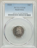Bust Dimes, 1828 10C Small Date, Square Base 2, VF30 PCGS. PCGS Population: (7/98). CDN: $225 Whsle. Bid for NGC/PCG...