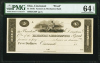 Cincinnati, OH- Farmers & Mechanics Bank $5 18__ G40 Wolka 0469-11 Proof PMG Choice Uncirculated 64 EPQ