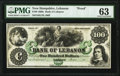 Obsoletes By State:New Hampshire, Lebanon, NH- Bank of Lebanon $100 June __, 18__ as G92a Proof PMG Choice Uncirculated 63.. ...
