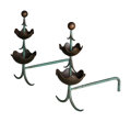 Decorative Accessories, Mingazzi (Italian, 20th Century) in the Manner of Jean Royere (French, 1902-1981). Pair of Andirons, circa 1950. Brass, ... (Total: 2 Items)