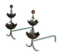 Mingazzi (Italian, 20th Century) in the Manner of Jean Royere (French, 1902-1981) Pair of Andirons, circa 1950 Brass...