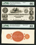 Obsoletes By State:New Jersey, Bordentown, NJ- Bordentown Banking Co. $2 Oct. 1, 1851 as G4a Proof; Back Proof PMG Gem Uncirculated 66 EPQ; PMG Choice Un... (Total: 2 notes)