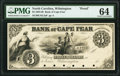 Obsoletes By State:North Carolina, Wilmington, NC- Bank of Cape Fear $3 18__ as G3D Proof PMG Choice Uncirculated 64.. ...