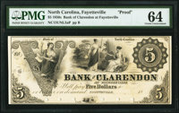 Fayetteville, NC- Bank of Clarendon at Fayetteville $5 18__ as G2 Proof PMG Choice Uncirculated 64