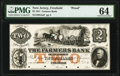 Obsoletes By State:New Jersey, Freehold, NJ- Farmers Bank of Freehold $2 July 4, 1851 as G4a Wait UNL Proof PMG Choice Uncirculated 64.. ...