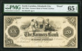 Obsoletes By State:North Carolina, Elizabeth City, NC- Farmers Bank of North Carolina $20 18__ as G14 Proof PMG Gem Uncirculated 65 EPQ.. ...