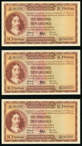 World Currency, South Africa South African Reserve Bank 10 Shillings 29.3.1956 Pick 90c Consecutive Group of Three About Uncirculated.. ... (Total: 3 notes)