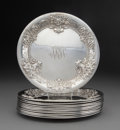 Silver & Vertu, Twelve Whiting Mfg. Co. Repoussé Silver Bread and Butter ...