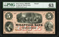 Obsoletes By State:New Jersey, Millville, NJ- Millville Bank $5 18__ as G8b Wait 1182 Proof PMG Choice Uncirculated 63.. ...