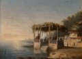 Paintings, Attributed to Théodore Gudin (French, 1802-1880). Terrasse sur le Bosphore. Oil on canvas. 6-1/4 x 8-1/4 inches (15.9 x ...