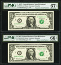 Small Size:Federal Reserve Notes, Radar Serial Number 06166160 and Repeater Serial Number 06160616 Fr. 3004-E $1 2017 Federal Reserve Notes. PMG Graded Gem Unci... (Total: 2 notes)