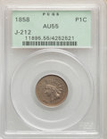 1858 P1C Indian Cent, Judd-212, Pollock-256,263, R.4, AU55 PCGS. Green label holder. PCGS Population: (6/118). NGC Censu...