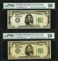 Fr. 1952-B; H $5 1928B Dark Green Seal Federal Reserve Notes. PMG Graded Very Fine 20; Very Fine 30