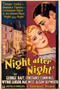 "Movie Posters:Drama, Night After Night (Paramount, 1932). Fine+ on Linen. One Sheet (27.5"" X 40.75"") Style A. From the Mike Kaplan Collection...."