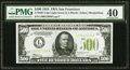 Small Size:Federal Reserve Notes, Fr. 2201-L $500 1934 Light Green Seal Federal Reserve Note. PMG Extremely Fine 40.. ...