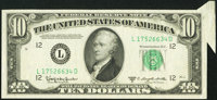 Butterfly Fold Error Fr. 2014-L $10 1950D Federal Reserve Note. Very Fine-Extremely Fine