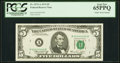 Small Size:Federal Reserve Notes, Solid 4 Serial Fr. 1973-A $5 1974 Federal Reserve Note. PCGS Gem New 65PPQ.. ...