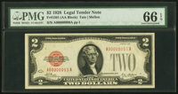 Fr. 1501 $2 1928 Legal Tender Note. PMG Gem Uncirculated 66 EPQ