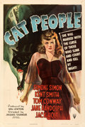 "Movie Posters:Horror, Cat People (RKO, 1942). Fine on Linen. One Sheet (27"" X 40.5""). William Rose Artwork. From the Mike Kaplan Collection.. ..."