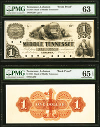 Lebanon, TN- Bank of Middle Tennessee $1 Mar. 1, 1854 G2 Garland 507 Face and Back Proofs PMG Choice Uncirculated 63, PM...