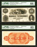 Obsoletes By State:Tennessee, Lebanon, TN- Bank of Middle Tennessee $10 as G10a as Garland G512 Proof PMG Choice Uncirculated 64; PMG Choice Uncirculate... (Total: 2 notes)