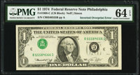 Inverted Third Printing Error Fr. 1908-C $1 1974 Federal Reserve Note. PMG Choice Uncirculated 64 EPQ