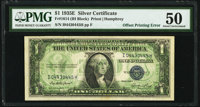 Full Back to Face Offset Error Fr. 1614 $1 1935E Silver Certificate. PMG About Uncirculated 50