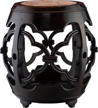 A Chinese Marble-Inset Hardwood Drum Stool, early 20th century 20-3/8 x 19-1/2 inches (51.8 x 49.5 cm)