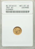 1851 G$1 -- Cleaned -- ANACS. AU Details, Net XF40. Mintage 3,317,671. ...(PCGS# 7513)
