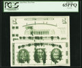 Error Notes:Ink Smears, Giori Press Test Note Uncut Face and Back Pair with Heavy Ink Smears ND (1976) PCGS Gem New 65PPQ.. ...