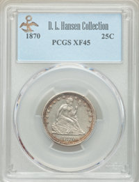 1870 25C XF45 PCGS. Ex: D.L. Hansen Collection. PCGS Population: (19/43 and 0/0+). NGC Census: (3/23 and 0/0+). CDN: $36...
