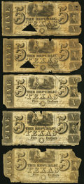 Austin, TX- Republic of Texas $5 1839-40 Cr. A4 Medlar 24 Ten Examples About Good or Better. ... (Total: 10 notes)