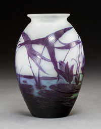 Gallé Cameo Glass Water Lily Vase, circa 1900 Marks: Gallé 6-1/2 in