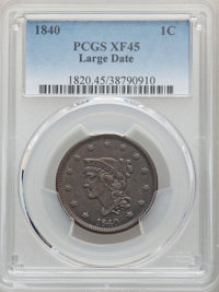 1840 1C Large Date XF45 PCGS. PCGS Population: (24/146). NGC Census: (3/81). CDN: $110 Whsle. Bid for NGC/PCGS XF45. Min...