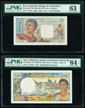 World Currency, New Caledonia Banque de l'Indochine; Institut d'Emission 20; 500 Francs ND (1954-58); ND (1969-92) Pick 50b; 60a Two Example... (Total: 2 notes)