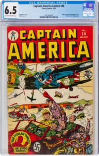 Captain America Comics #36 (Timely, 1944) CGC FN+ 6.5 Off-white to white pages