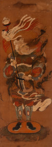 Paintings, A Korean School Ink and Color Painting of a Protector Deity, 19th century. 33 x 12 inches (83.8 x 30.5 cm). ...