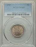 Liberty Nickels: , 1907 5C MS65 PCGS. PCGS Population: (111/41). NGC Census: (80/11). CDN: $350 Whsle. Bid for NGC/PCGS MS65. Mintage 39,214,8...