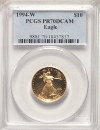 1994-W $10 Quarter-Ounce Gold Eagle PR70 Deep Cameo PCGS. PCGS Population: (310). NGC Census: (1087). CDN: $650 Whsle. B...