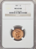 1891 1C MS65 Red NGC. NGC Census: (38/3). PCGS Population: (77/21). CDN: $1,000 Whsle. Bid for NGC/PCGS MS65. Mintage 47...
