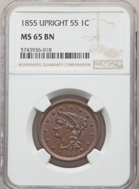 1855 1C Upright 55, MS65 Brown NGC. NGC Census: (79/29). PCGS Population: (56/12). CDN: $625 Whsle. Bid for NGC/PCGS MS6...